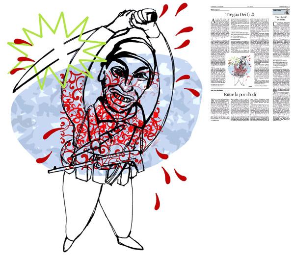 Jordi Barba, il·lustració publicada a La Vanguardia, secció d'Opinió 5-08-2016, per l'article de Walter Laqueur