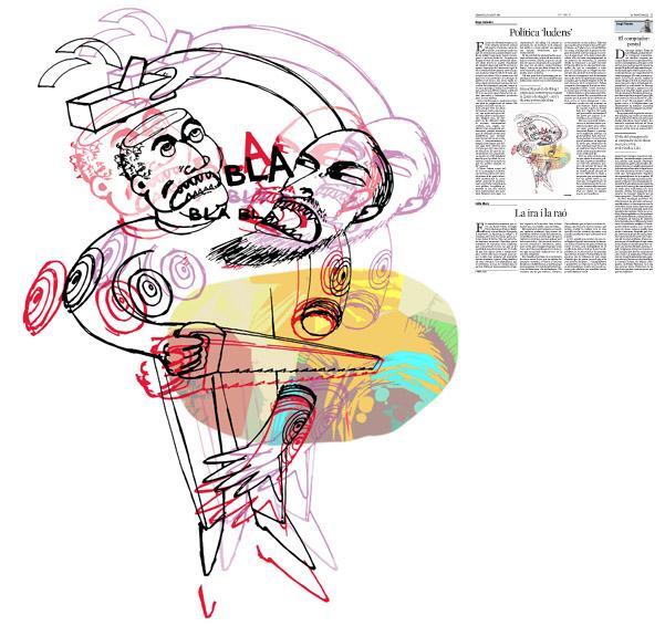 Jordi Barba, il·lustració publicada a La Vanguardia, secció d'Opinió 9-08-2016, per l'article de Kepa Aulestia
