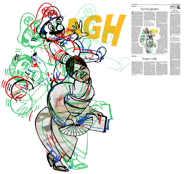 Jordi Barba, il·lustració publicada a La Vanguardia, secció d'Opinió 4-09-2016, per l'article de Llàtzer Moix