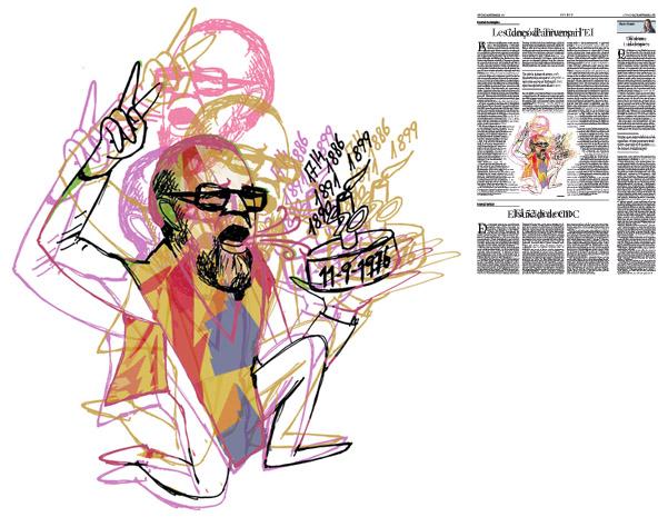 Jordi Barba, il·lustració publicada a La Vanguardia, secció d'Opinió 11-09-2016, per l'article de Daniel Fernández