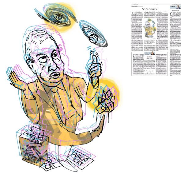 Jordi Barba, il·lustració publicada a La Vanguardia, secció d'Opinió 14-09-2016, per l'article de Salvador Cardús
