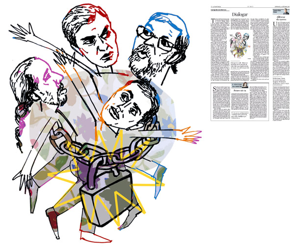 Jordi Barba, il·lustració publicada a La Vanguardia, secció d'Opinió 23-09-2016, per l'article de José Ignacio González Faus