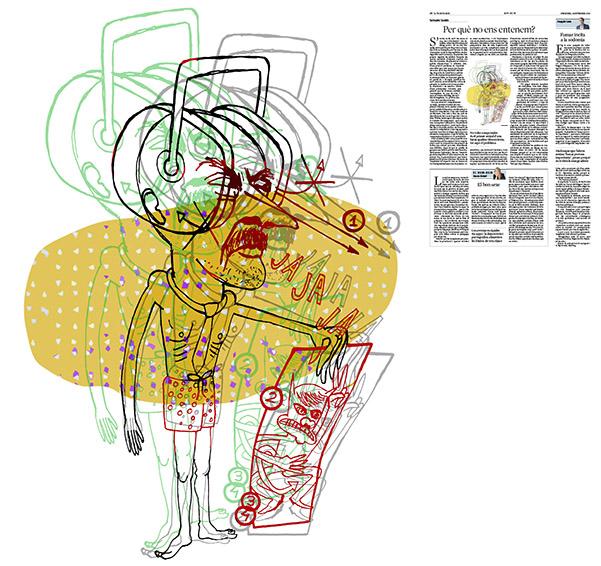 Jordi Barba, il·lustració publicada a La Vanguardia, secció d'Opinió 28-09-2016, per l'article de Salvador Cardús