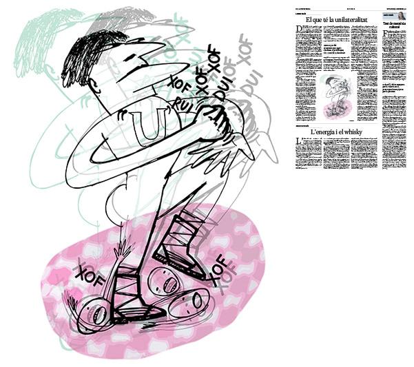 Jordi Barba, il·lustració publicada a La Vanguardia, secció d'Opinió 2-10-2016, per l'article de Llàtzer Moix