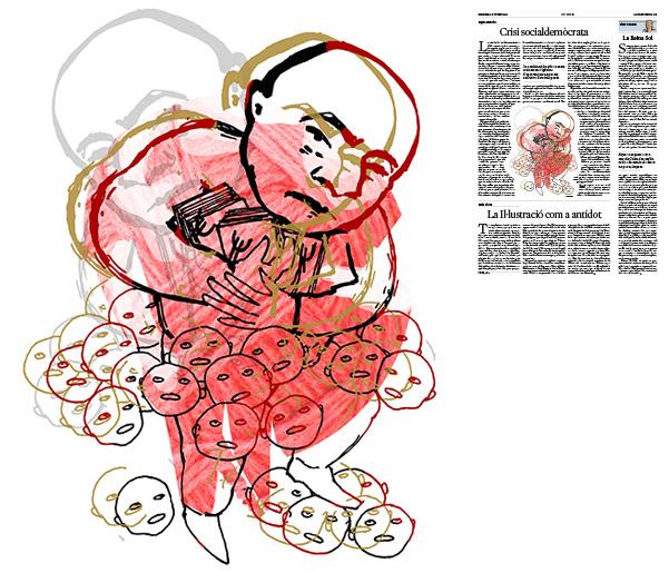 Jordi Barba, il·lustració publicada a La Vanguardia, secció d'Opinió 18-10-2016, per l'article de Kepa Aulestia