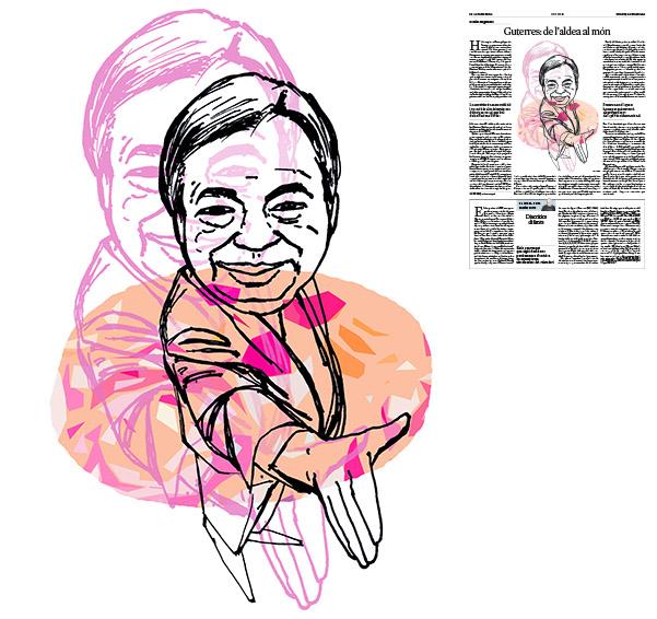 Jordi Barba, il·lustració publicada a La Vanguardia, secció d'Opinió 31-10-2016, per l'article de Gabriel Magalhães