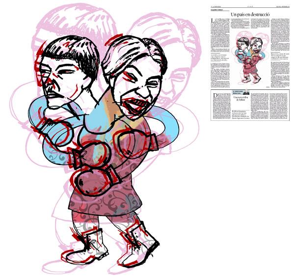 Jordi Barba, il·lustració publicada a La Vanguardia, secció d'Opinió 7-11-2016, per l'article de Josep Miró i Ardèvol