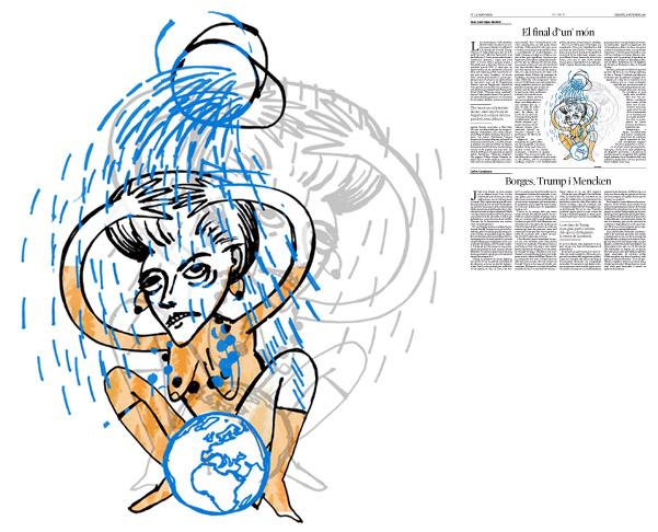 Jordi Barba, il·lustració publicada a La Vanguardia, secció d'Opinió 19-11-2016, per l'article de Juan-José López Burniol
