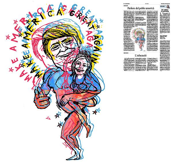 Jordi Barba, il·lustració publicada a La Vanguardia, secció d'Opinió 27-11-2016, per l'article de Llàtzer Moix