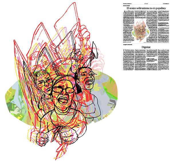Jordi Barba, il·lustració publicada a La Vanguardia, secció d'Opinió 4-12-2016, per l'article de Artur Mas i Gavarró