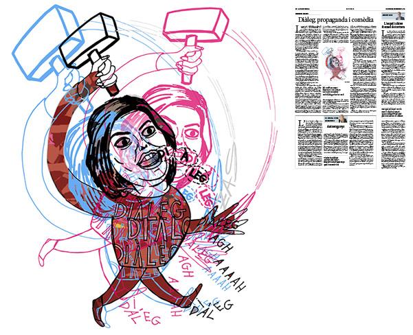 Jordi Barba, il·lustració publicada a La Vanguardia, secció d'Opinió 7-12-2016, per l'article de Salvador Cardús