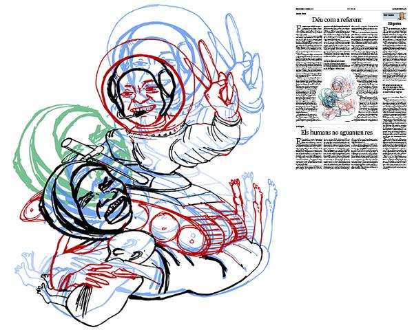 Jordi Barba, il·lustració publicada a La Vanguardia, secció d'Opinió 16-04-2017, per l'article de Carme Riera