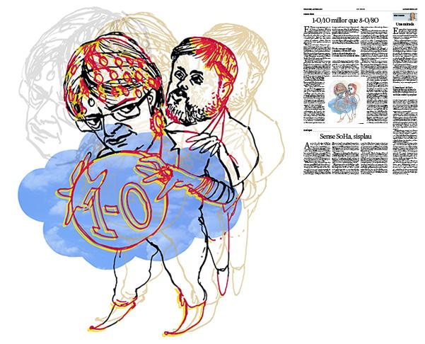 Jordi Barba, il·lustració publicada a La Vanguardia, secció d'Opinió 23-07-2017, per l'article de Carme Riera