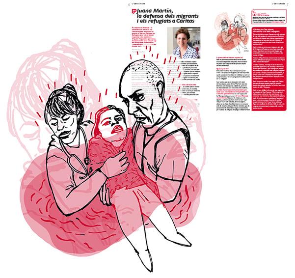 Jordi Barba, il·lustració publicada a El Batec núm. 6 de Càritas Barcelona, juliol de 2017, per l'article de Pepa Sala
