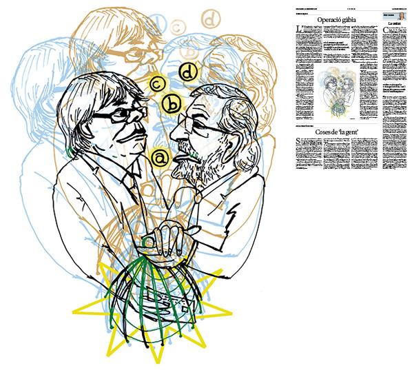 Jordi Barba, il·lustración publicada en La Vanguardia, sección de Opinión 29-09-2017, para el artículo de Ramon Espasa