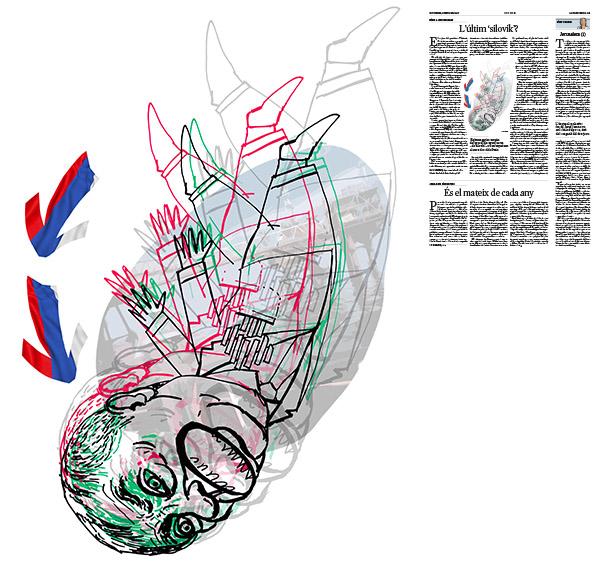 Jordi Barba, il·lustració publicada a La Vanguardia, secció d'Opinió 8-12-2017, per l'article de Nina L. Khrushcheva