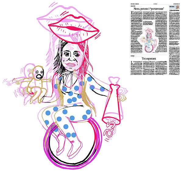Jordi Barba, il·lustració publicada a La Vanguardia, secció d'Opinió 18-02-2018, per l'article de Carme Riera