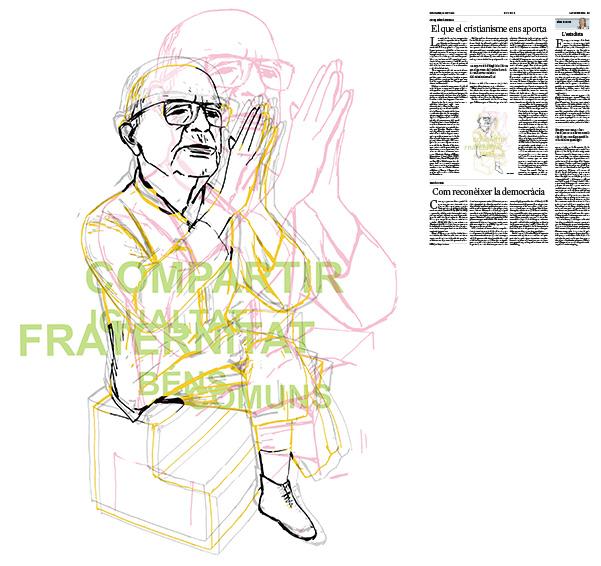 Jordi Barba, il·lustració publicada a La Vanguardia, secció d'Opinió 15-06-2018, per l'article de Josep Miró i Ardèvol