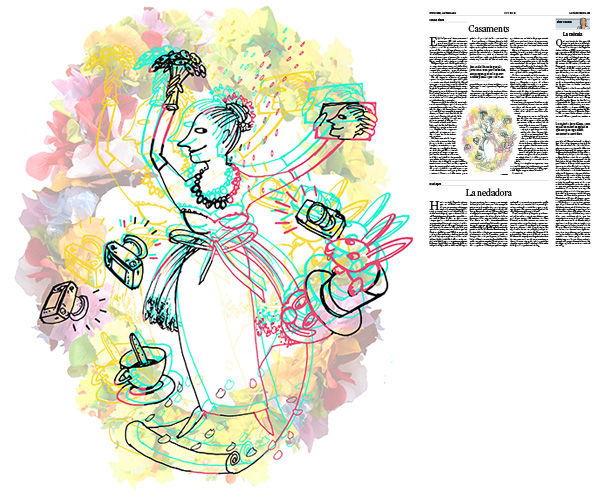 Jordi Barba, il·lustració publicada a La Vanguardia, secció d'Opinió 22-07-2018, per l'article de Carme Riera
