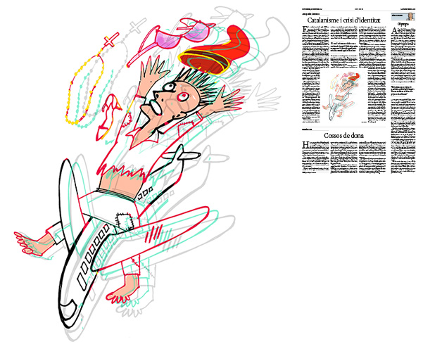 Jordi Barba, il·lustració publicada a La Vanguardia, secció d'Opinió 5-10-2018, per l'article de Josep Miró i Ardèvol