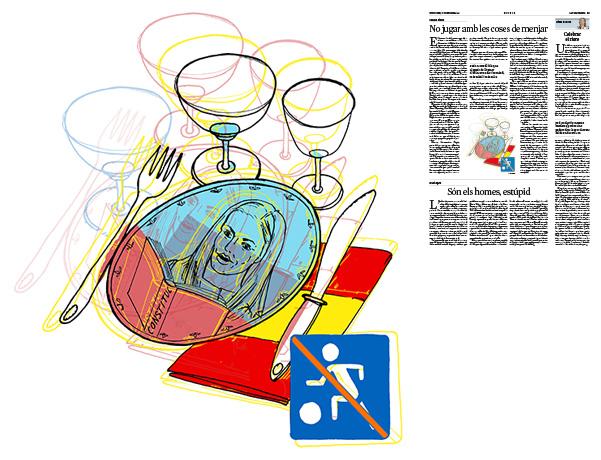 Jordi Barba, il·lustració publicada a La Vanguardia, secció d'Opinió 11-11-2018, per l'article de Carme Riera