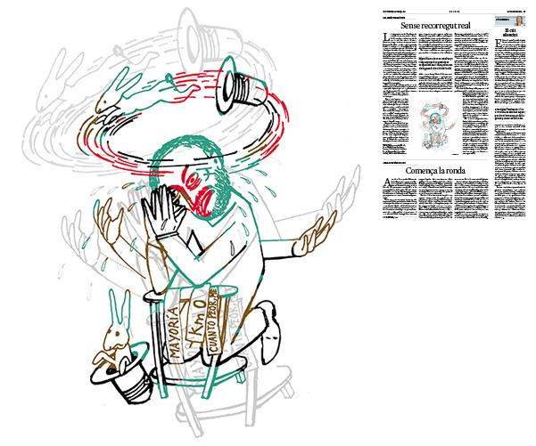 Jordi Barba, il·lustració publicada a La Vanguardia, secció d'Opinió 15-03-2019, per l'article del Col∙lectiu Treva i Pau