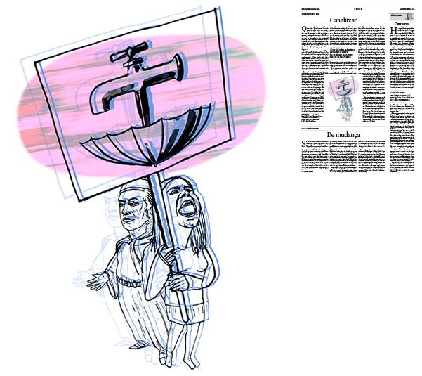 Jordi Barba, il·lustració publicada a La Vanguardia, secció d'Opinió 26-04-2019, per l'article del Col∙lectiu Treva i Pau