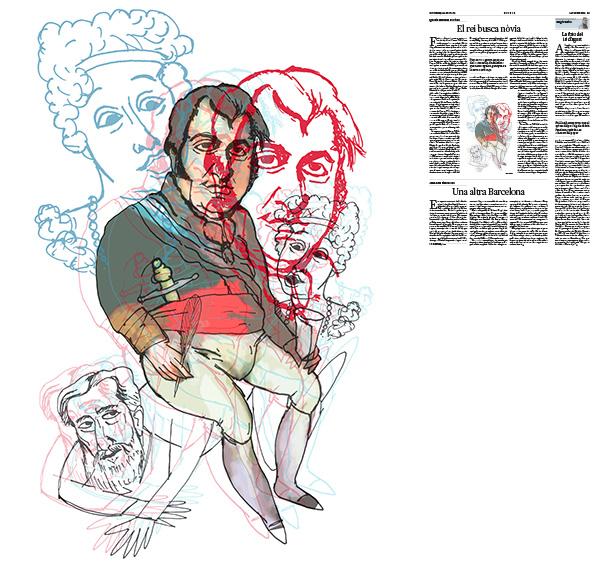 Jordi Barba, il·lustració publicada a La Vanguardia, secció d'Opinió 16-08-2019, per l'article de Ignacio Martínez de Pisón